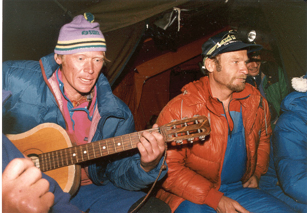 Anatoly Bukreev and Vladimir Balyberdin at Everest basecamp 1991. by Dan Mazur